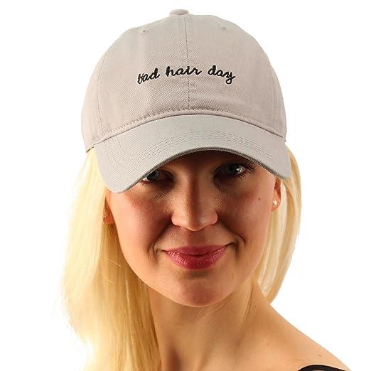 9d1da2f2 Everyday Bad Hair Day Adjustable Cotton Baseball Sun Visor Cap Dad Hat Gray  at Amazon Women's Clothing store: