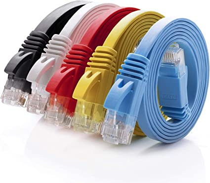 5 Pack 5Ft Cat6 Ethernet RJ45 Lan Wire Network Red UTP 5 Feet Patch Cable