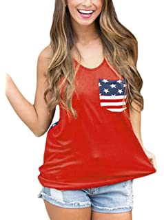 0a4f820b7c612 Sidefeel Women 4th of July Tank Tops American Flag Print Summer Sleeveless  T Shirt