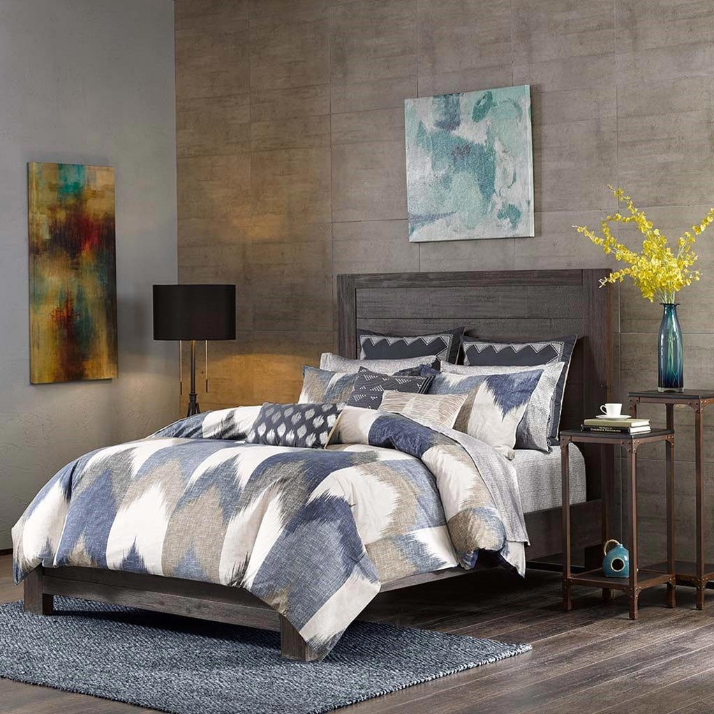 INK+IVY Alpine 3-Piece Cotton All Over Heather Printed Comforter Mini Set-Full/Queen Size-Broken Chevron Pattern in Navy/Taupe/Charcoal on Ivory Ground