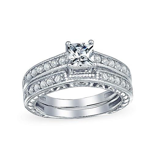 Bling Jewelry 0.75Ct (5mm) CZ Plata Esterlina Juego de Anillos ...