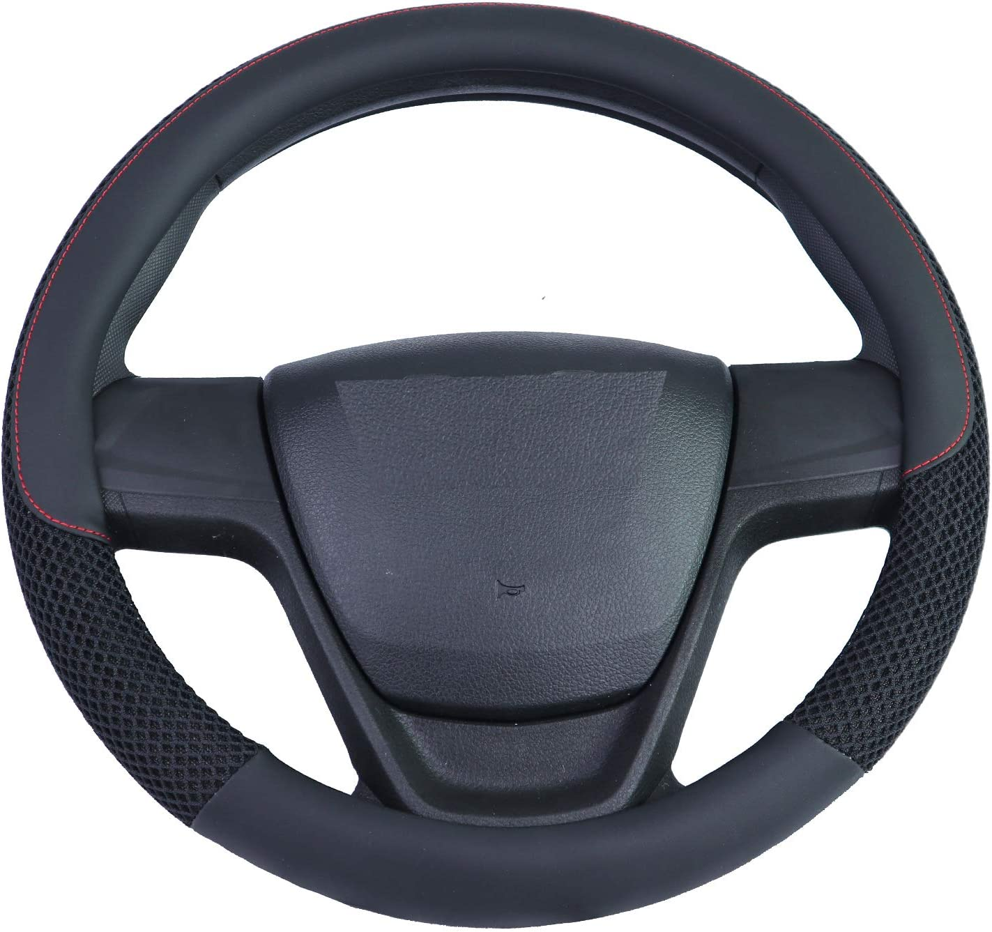 Outon Microfiber Leather Universal Car Steering Wheel Cover 37-38cm//14.5-15inch Black 1