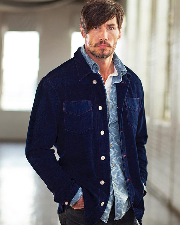 Ryan Michael Men's Chenille Shirt Jacket Indigo Small