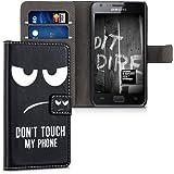 kwmobile Hülle für Samsung Galaxy S2 i9100 / S2 PLUS i9105 - Wallet Case Handy Schutzhülle Kunstleder - Handycover Klapphülle mit Kartenfach und Ständer Don't touch my Phone Design Weiß Schwarz