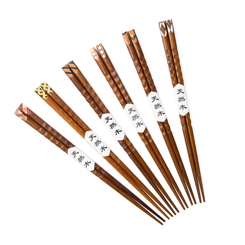 Wooden Chopsticks,GAKA 9 Inches Top Grade Japanese Natural Wood Chopsticks, Reusable Classic Japanese Style,Dishwasher-Safe,Chopsticks Wooden for Kitchen Dinner And Wooden Chopsticks Gift Set 6 Pairs