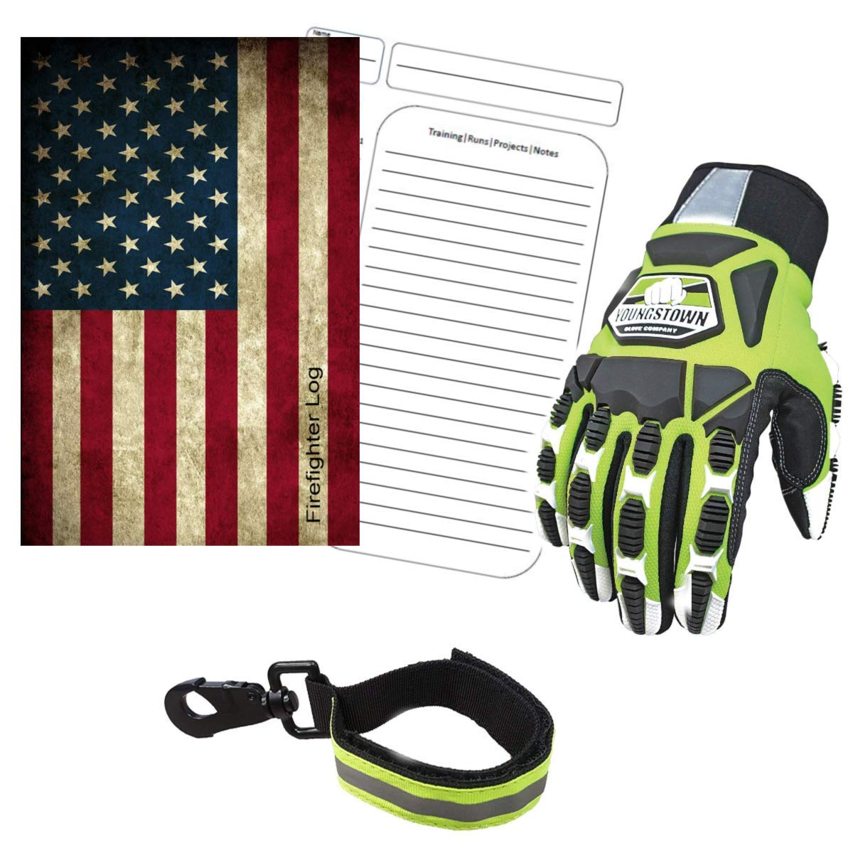 Cut Resistant Gloves Bundle - 1 - Firefighter Extrication Gloves (Large) | 1 - Glove Strap (lime Green) | 1 - Firefighter Journal (Track training hours, Run activities, work, ect.)