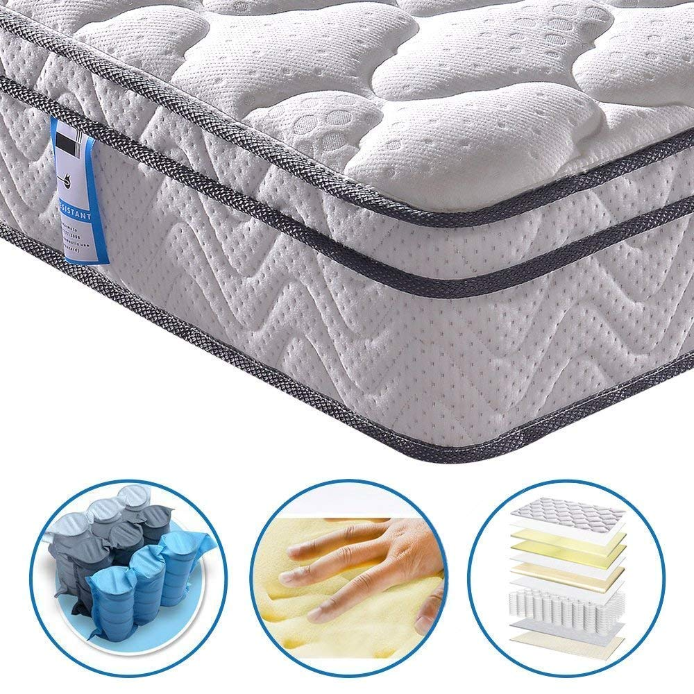 Vesgantti 10.2 Inch Multilayer Hybrid Twin Mattress - Multiple Sizes & Styles Available, Ergonomic Design with Breathable Foam and Pocket Spring/Medium Plush Feel by Vesgantti