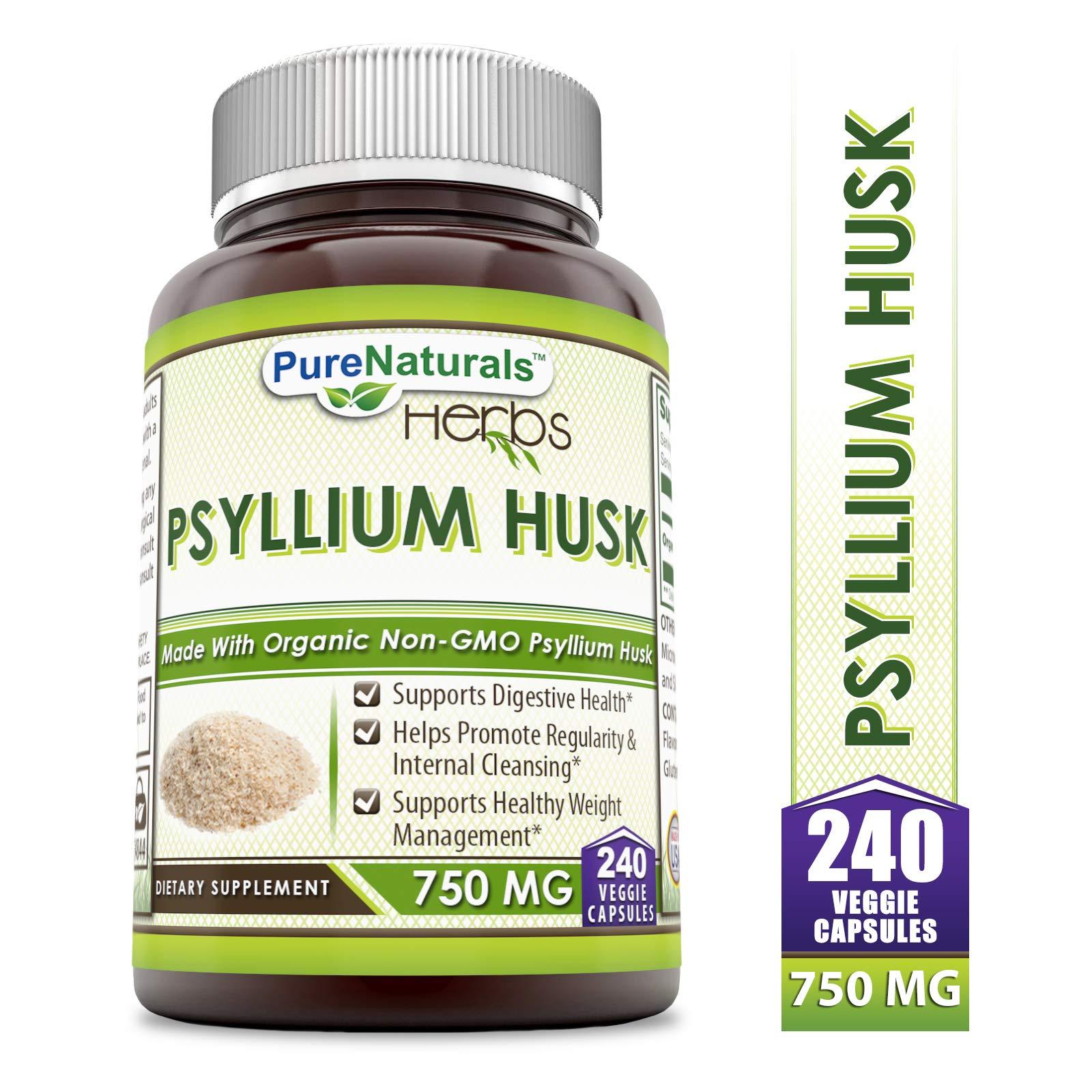 Pure Naturals Psyllium Husk - 750 mg Platango Ovata Fiber Capsules Veggie Capsules (240 Count) by Pure Naturals