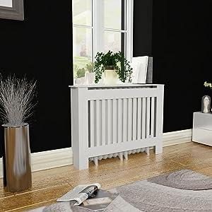 "Tidyard MDF Radiator Cover Heating Cabinet, White, 44"""