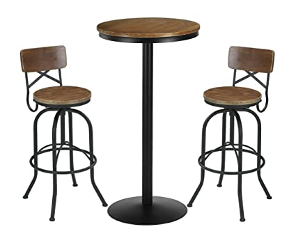 VILAVITA 3 Piece Bar Table Set 41.5u0026quot; Pub Table with 2 Bar Stools Retro Finish  sc 1 st  Amazon.com & Amazon.com: VILAVITA 3 Piece Bar Table Set 41.5