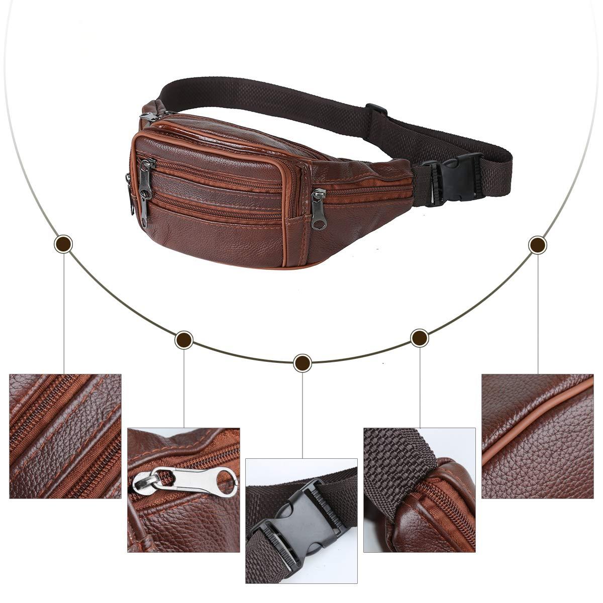 Leathario Bolso de Cintura Ri/ñonera de Marcha y Running Acampada para Hombres Deporte Viaje al Aire Libre