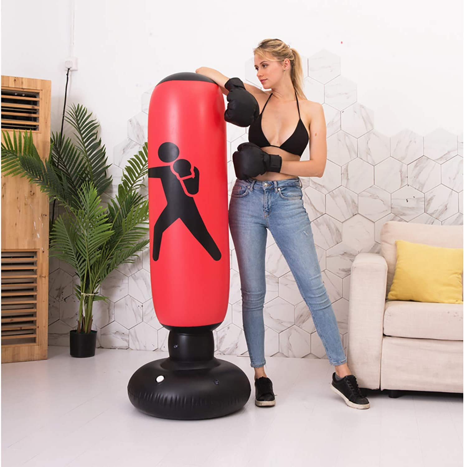 BOOMGROO Inflatable Punching Bag with Stand - Boxing Bag Toy Boxing Stand Heavy Bag Stand Strength Enhancer Boxing Toy for Kids, Youth & Adults Boom Boom Boxing (Red) : Sports & Outdoors