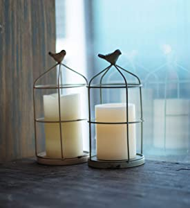 Foreside Home and Garden White Set of 2 Rustic Mint Metal Wire Cage and Bird Pillar Candle Holders