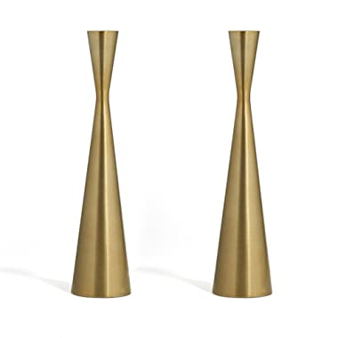 Brass Finished Taper Candle Holders - 2 Pack, 10.5 Inches, Metal, Hourglass Shape, Fits All Standard Candlesticks