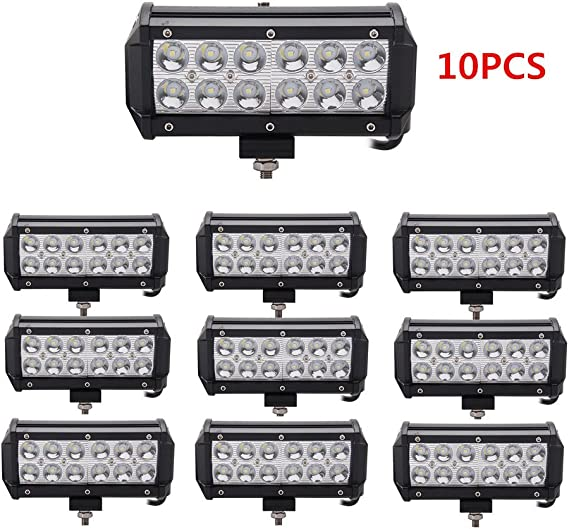 Lumitek 10X 36W Led Pods 7 Inch Led Light Bar Led Spot lights IP 67 Waterproof Fog Lights for Off-road Vehicle