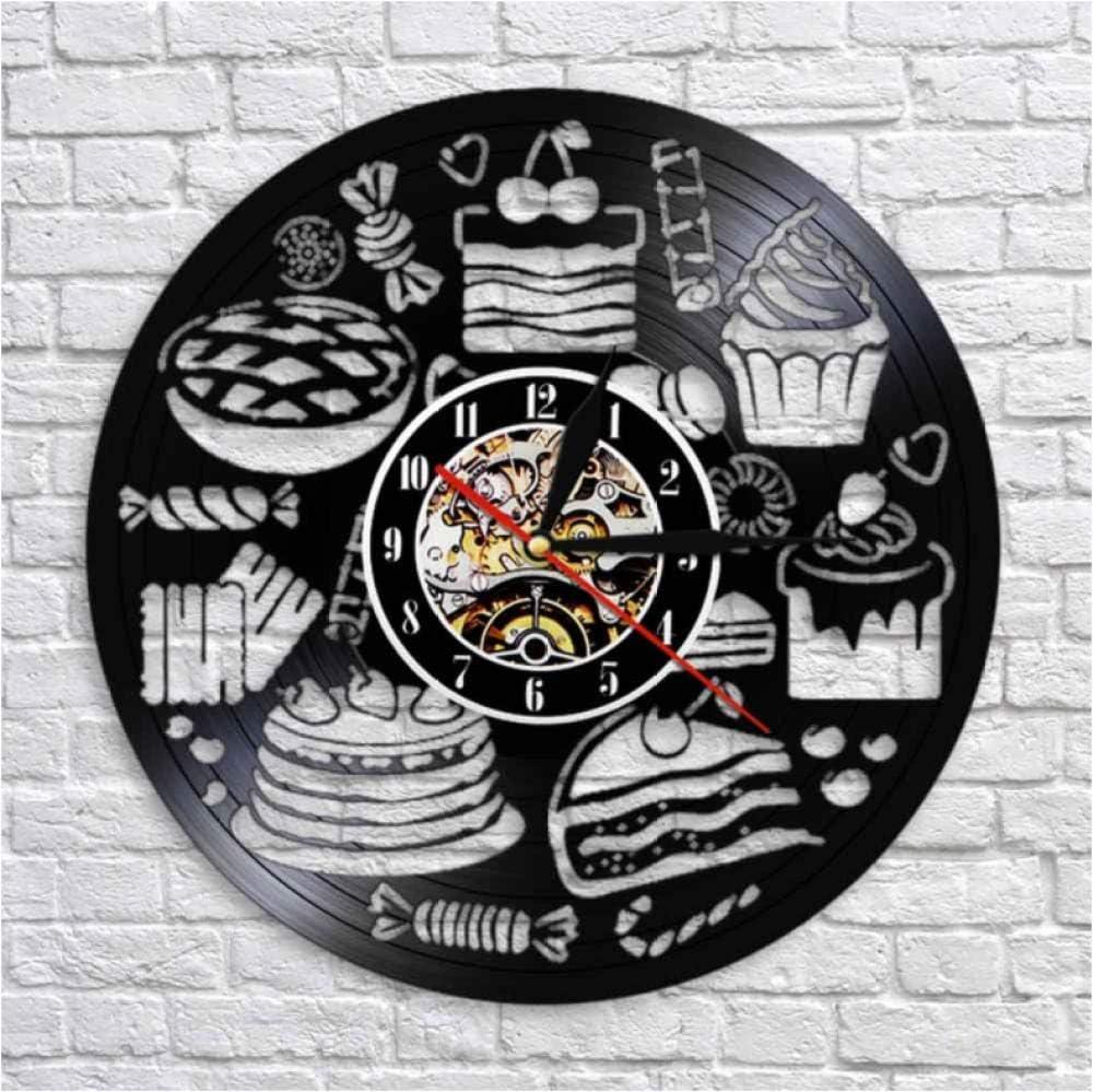 Hopeyard Pain Bonbons Cupcake Wall Art Horloge Boulangerie Signe D/écoration Murale P/âtisserie Disque Vinyle Horloge Murale Confiserie Cuisine D/écorative Montre