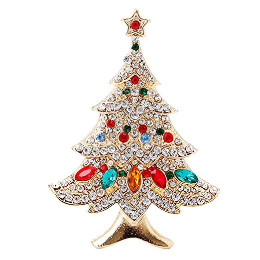 Amazon Com Scastoe Vintage Colored Christmas Tree Rhinestone Brooch