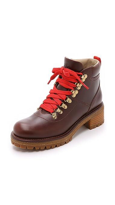b76bb98e94d Tory Burch Gunton Hiking Bootie Veggie Leather Sturdy Brown Woman Size 5.5