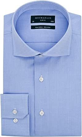 e5 mode - Camisa azul cielo chisé – Slim Fit Hombre: Amazon ...