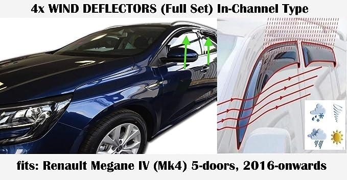 Tipo in-Channel Compatibile con Renault Megane MK4 5 Porte Hatchback 2016 2017 2018 2019 2020 Vetro Acrilico Visiera Laterale PMMA deflettori Finestra Set di 4 deflettori dAria