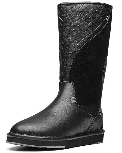 AUMU Women's Fur Lined Waterproof High Calf Winter Boots