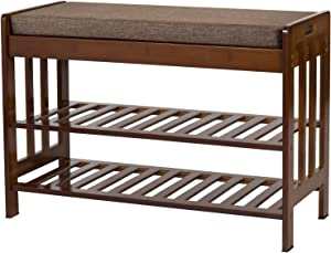 "Ollieroo Natural Bamboo Shoe Rack Entryway Shoe Storage Household Shelf Shoe Bench with Cushion, Size 28.1"" x 11.8"" x 19.7"" (Amber)"