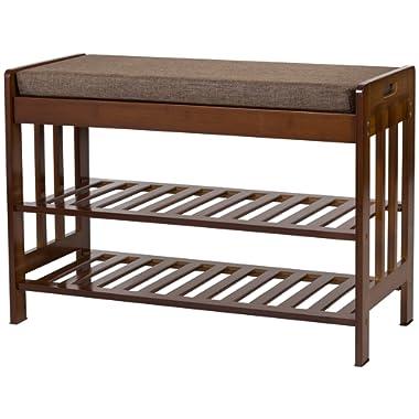 Ollieroo Natural Bamboo Shoe Rack Entryway Shoe Storage Household Shelf Shoe Bench with Cushion, Size 28.1  x 11.8  x 19.7  (Amber)