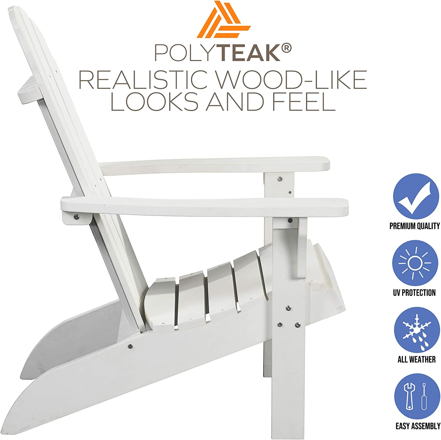 PolyTEAK Traditional Element Faux Wood Poly Adirondack Chair, White   Adult-Size, Weather Resistant, Made from Special Formulated Poly Lumber Plastic…: Kitchen & Dining