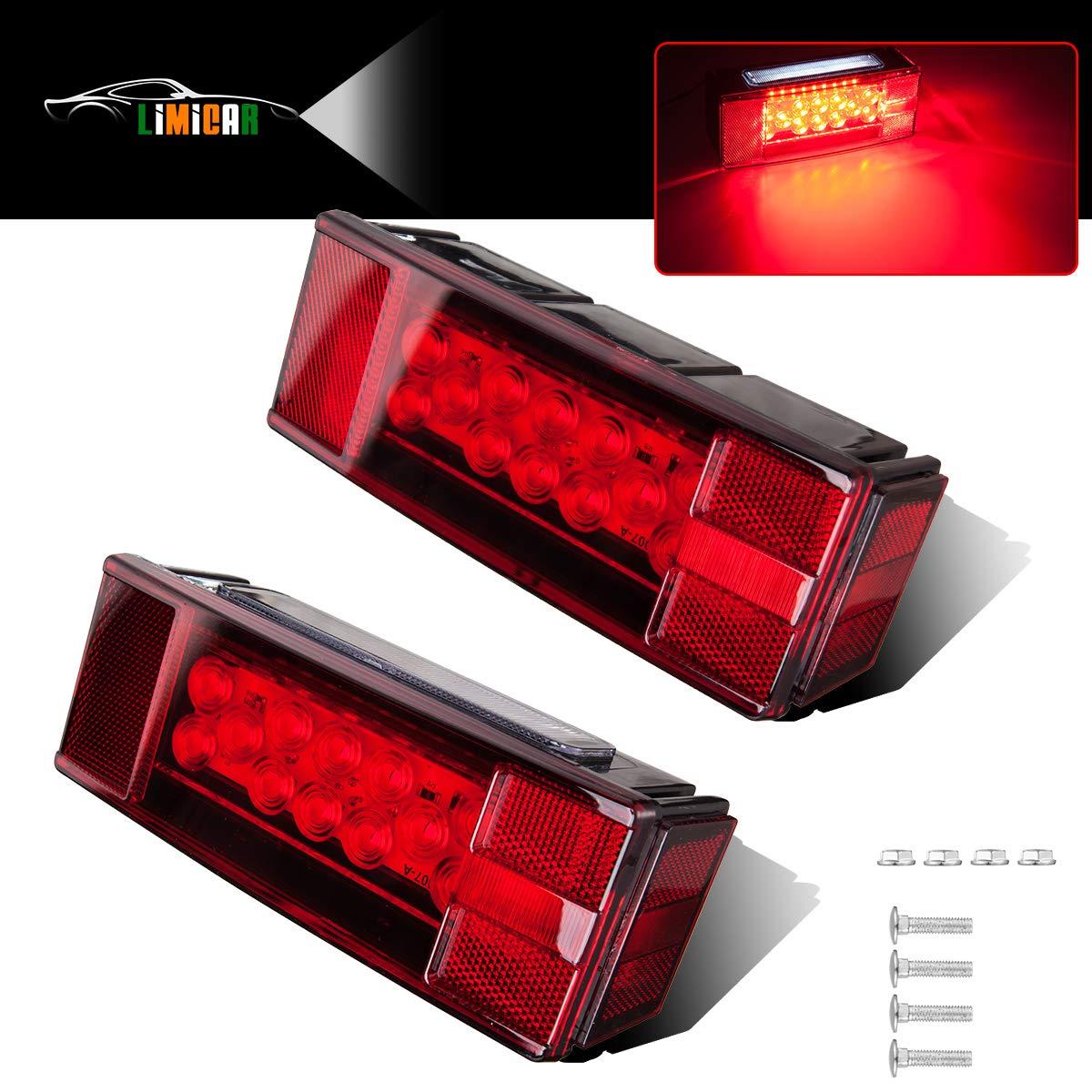 LIMICAR Rectangular LED Trailer Lights Kit Waterproof Low Profile Tail Stop Brake Turn Running License Plate Rear Lights for Trailer Truck Van Marine 12V Red (Pack of 2) by LIMICAR
