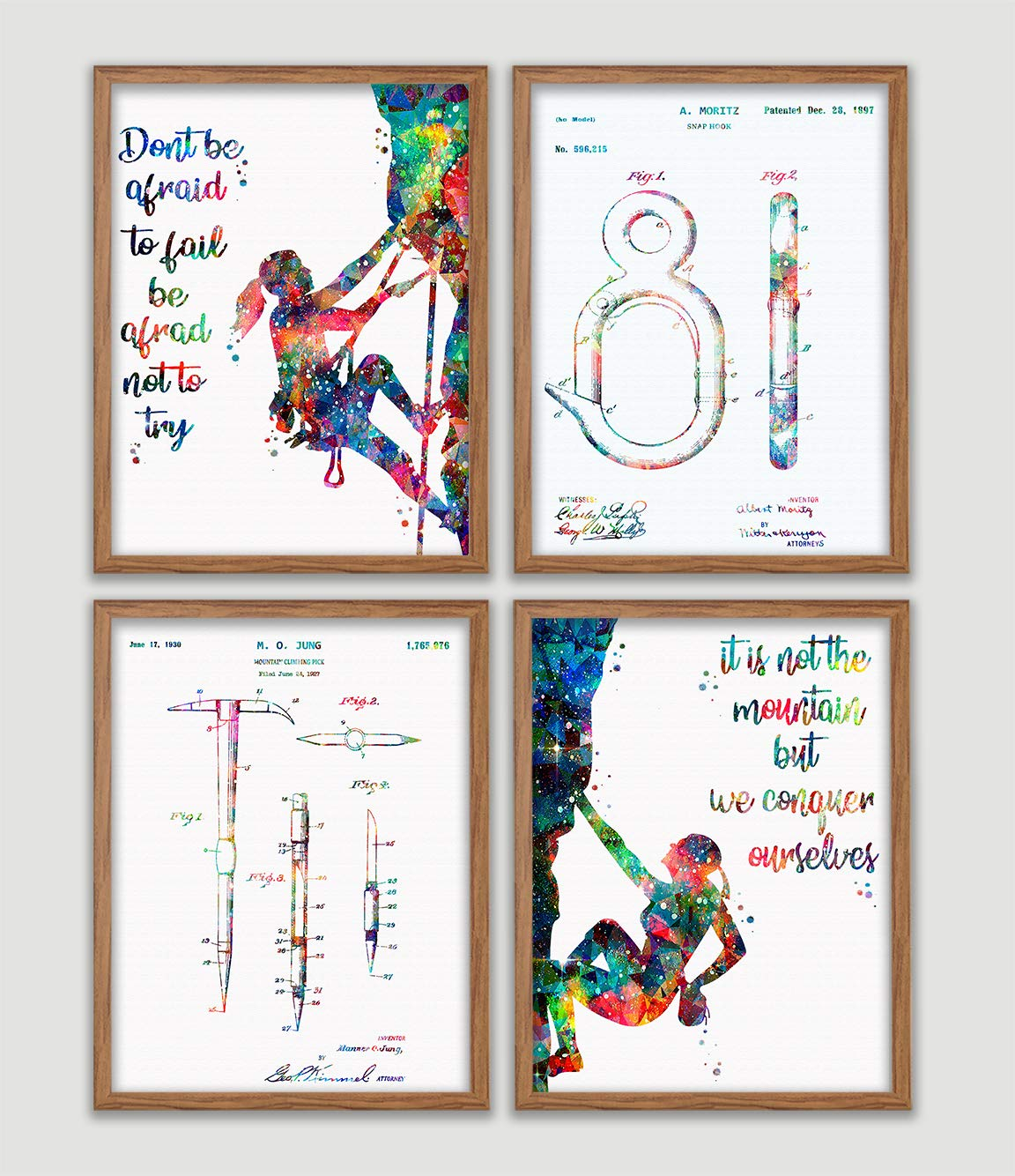 Girl Rock Climbing Watercolor Poster Set Climber Art Prints Extreme Sports Wall Decor Mountain Climbing Artworks Rock Climber Girl Wall Art Wall Hanging Great Gift for Climber