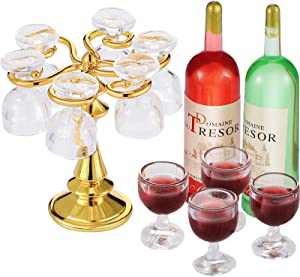 13 Pieces Dollhouse Goblet Rack Set Mini Wine Glass Stand Holder Empty Round Bottom Wine Glasses Red Wine Bottles Champagne Cups Miniature Drink Bottles Kitchen Accessories for Dollhouse Decors