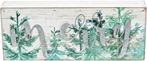 """Mini Christmas Wood Box Sign with Galvanized Metal Letters- Merry, Farmhouse Rustic Christmas Holiday Decorations for Table Desk Counter Shelf Fireplace Mantel, 9"""" W x 1-3/4""""D x 3-1/2""""H"""