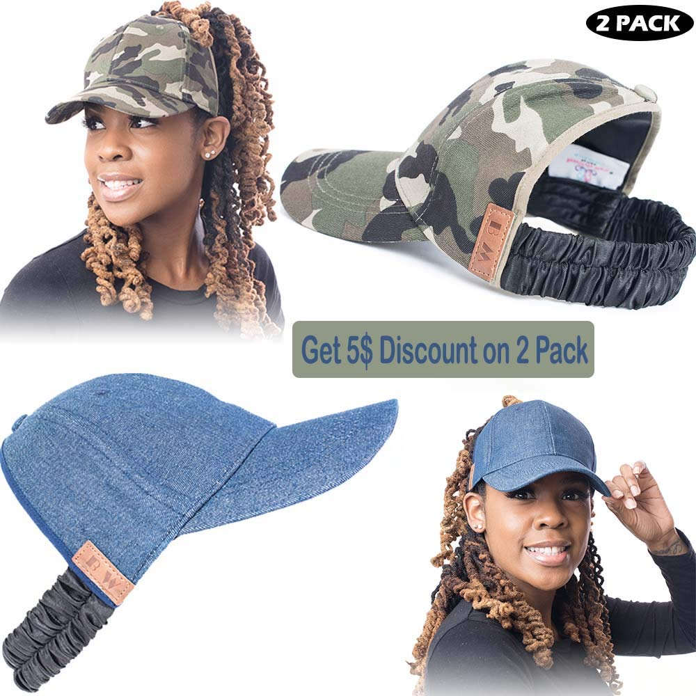 Beautifully Warm Satin Lined Baseball Hat for Women | Ponytail Hat for Curly, Thick, Natural Hair (DenimFatigue) by Beautifully Warm