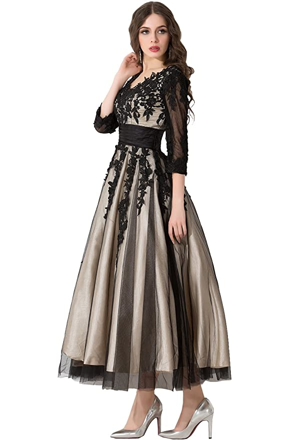 DressyMe Womens Lace Midi Evening Dresses V-Neck 1/2 Sleeves Tulle: Amazon.co.uk: Clothing
