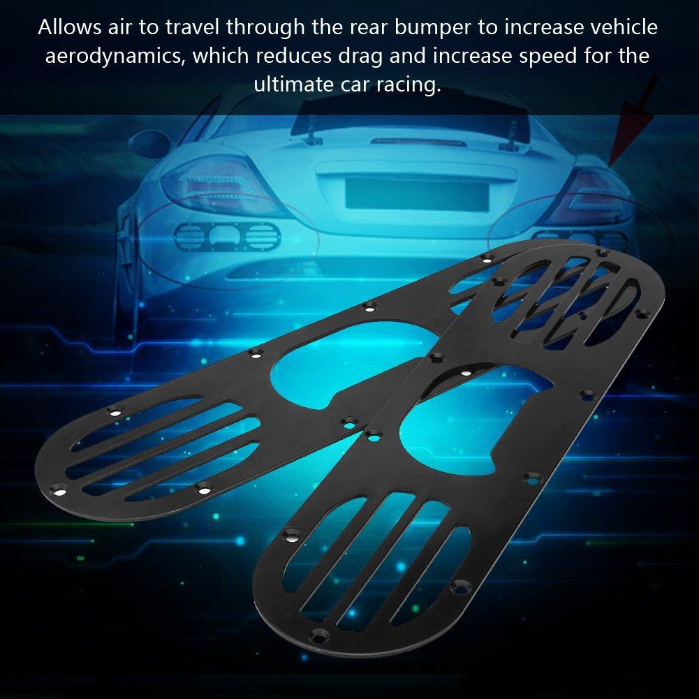 2Pcs Universal Aluminum Alloy Rear Bumper Diffuser Panel Air Diversion Diffuser Panel for Car Race Black /& Silver Black