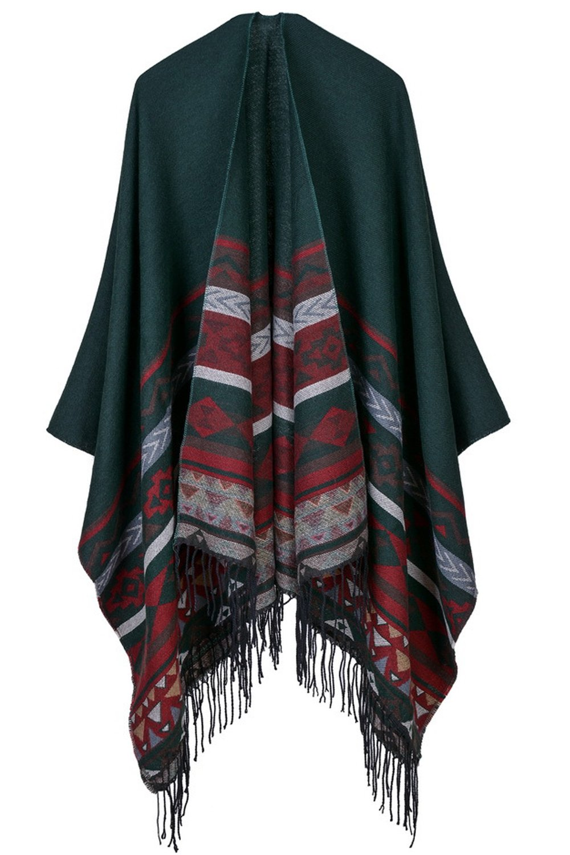 YACUN Women Winter Reversible Scarves Blanket Poncho Cape Shawl Coat Black F CARSWJ17055-Black-F