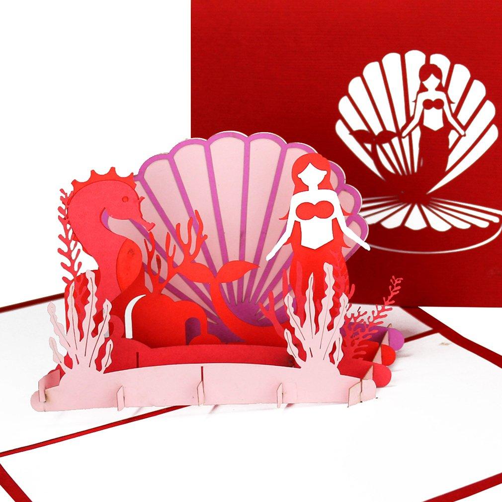 Edition Colibri - Biglietto tridimensionale pop-up'Piccola Sirenetta' con cavalluccio marino, biglietto d'invito e regalo biglietto d' invito e regalo Cologne Cards | Pop-Up Karten