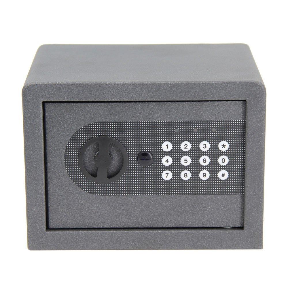 GHP 6.69''x9.06''x6.69'' Black Iron Digital Keypad Security Safe Box with 2 Keys