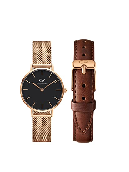 4d145f1dcbf1 Buy Daniel Wellington Classic Petite Melrose Analogue Black 28Mm   St. Mawes  Strap 12Mm Combo For Women Dw00500046 Online at Low Prices in India -  Amazon.in