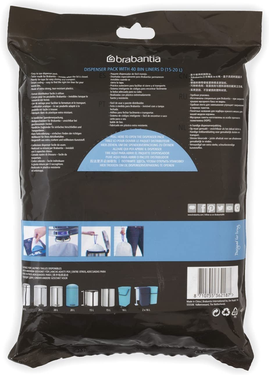Amazon.com: Brabantia 362187 bolsas de basura, 4 – 5.3 ...