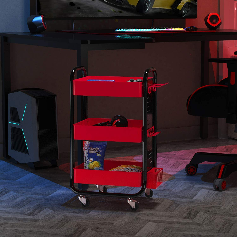 mit abnehmbarer Stecktafel und zus/ätzlichen Aufbewahrungsk/örben Schwarz und Rot Metall-Handwerk f/ür Geschenk Heimb/üro Designa Spielwagen mit 3 Ebenen