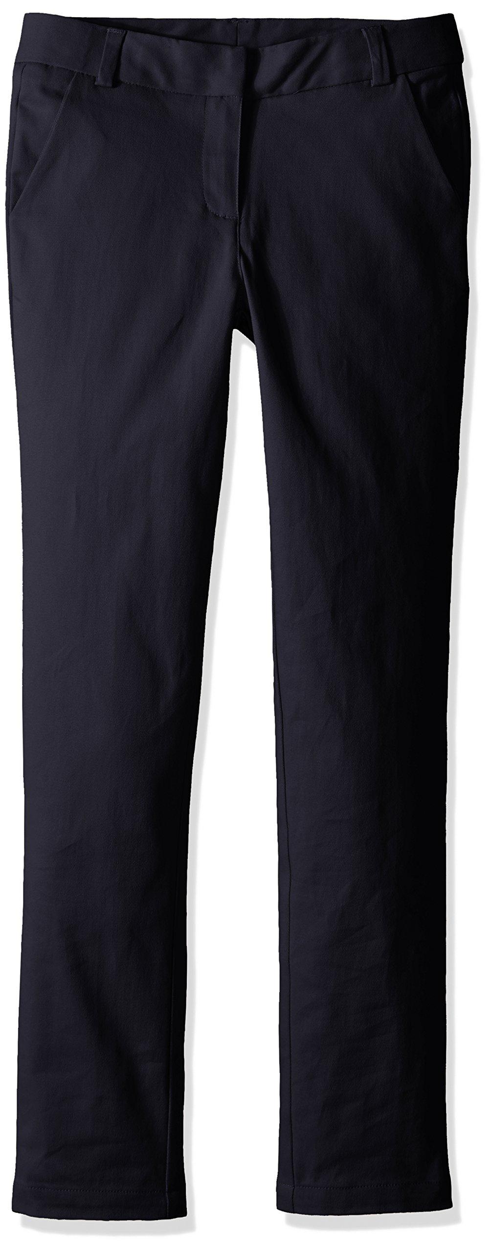 Nautica Big Girls' Uniform Straight Leg Stretch Twill Pants, Navy, 10