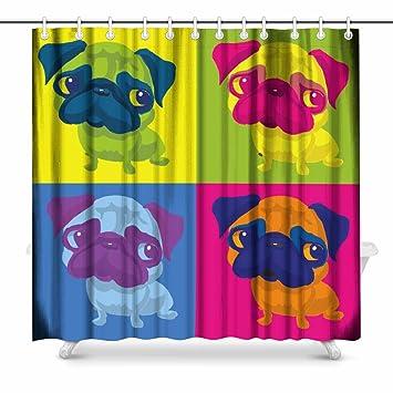 InterestPrint Pug Dog Andy Warhol Style Art Decor Print Bathroom Shower Curtain Decorations Fabric Extra Long