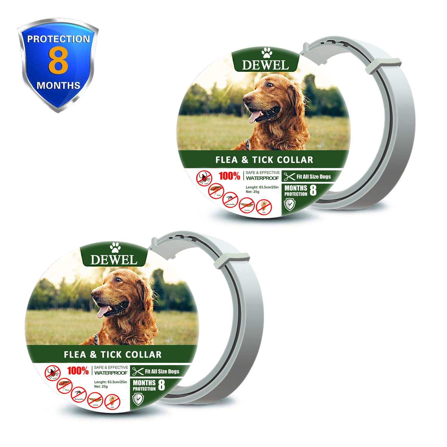 zpetii Flea & Tick Collar for Dog Waterproof Collars Fits All Large Medium & Small Dogs for 8 Months 2 Pack
