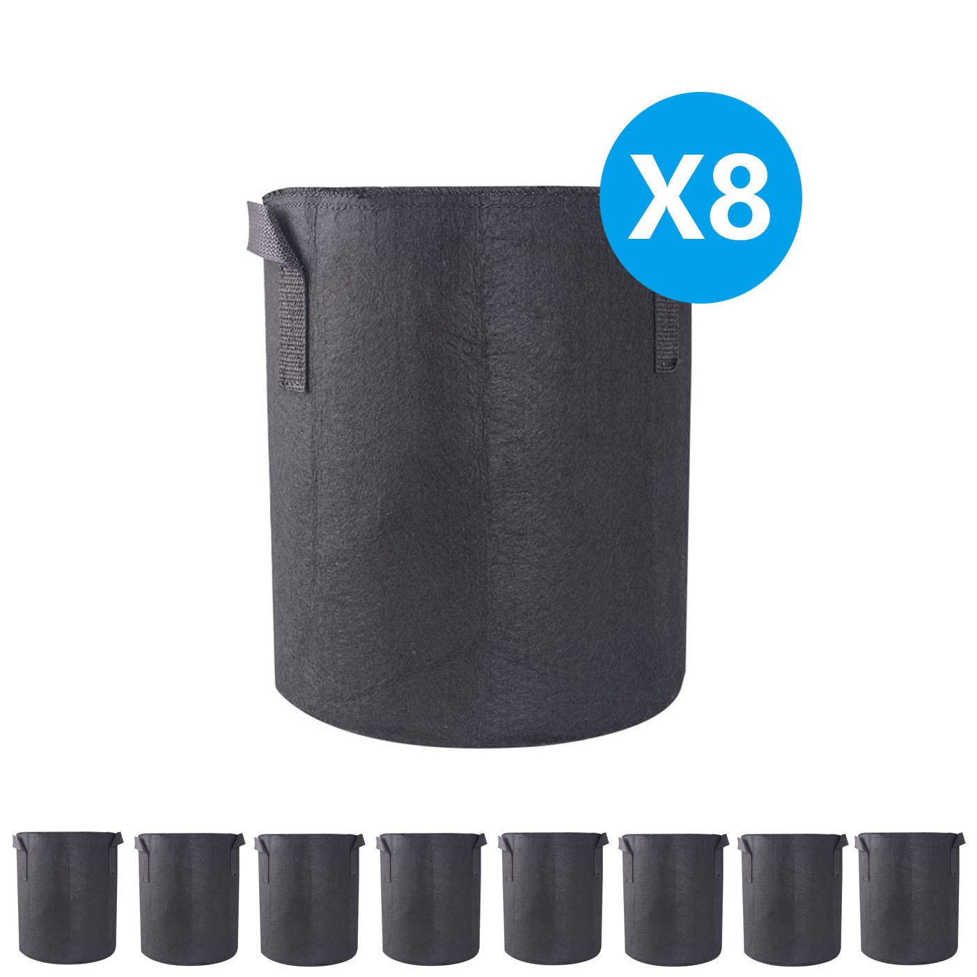 A1KINGDOM 8-PACK 3 Gallon Grow Bags Heavy Duty Thickened Non-woven Smart Plant Aeration Fabric Pots Containers with Handles for Nursery Garden and Planting