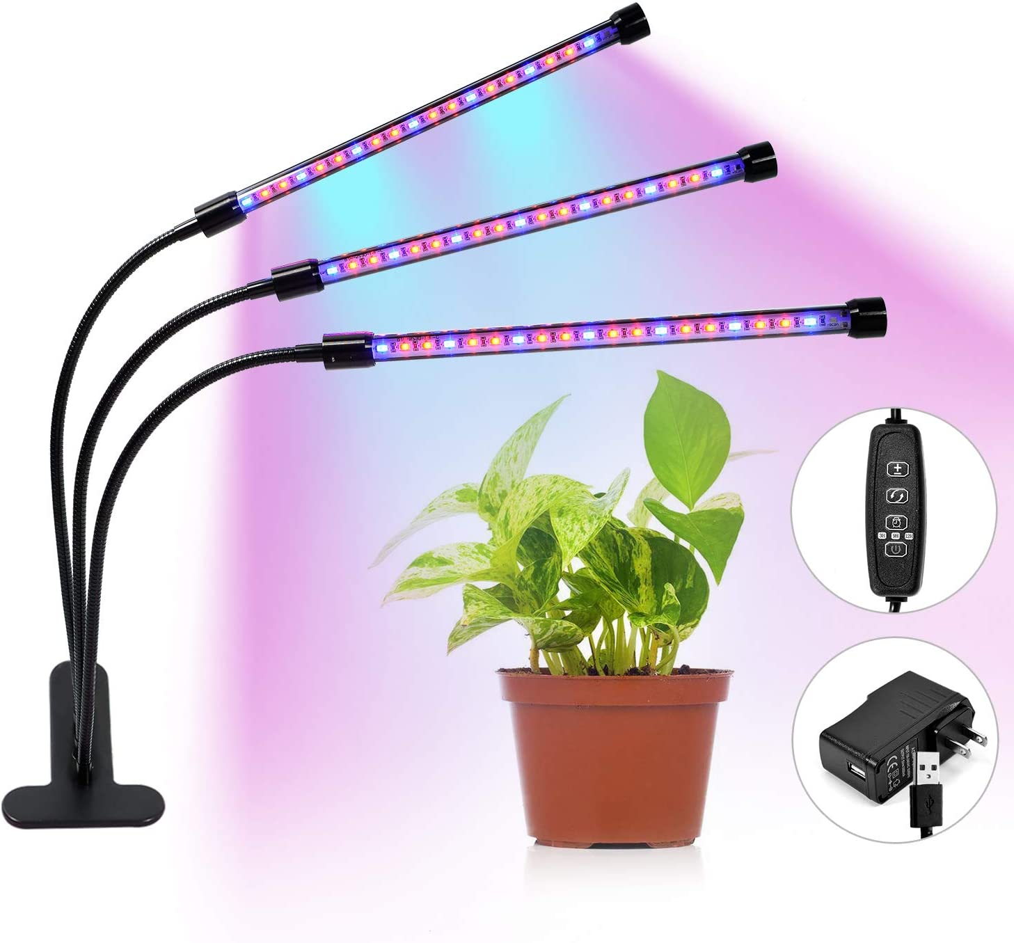 Gienar Grow Light with 3 9 12H Timer and Memory Function, 3 Heads 27W 57 LED Grow Lamp for Indoor Plants with 5 Dimmable Levels and 3 Switch Modes, Adjustable Gooseneck USB Adapter Included