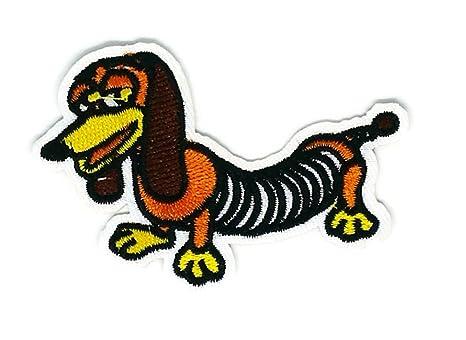 Parche bordado para coser o planchar con dibujos animados de perro salchicha marrón, hecho a