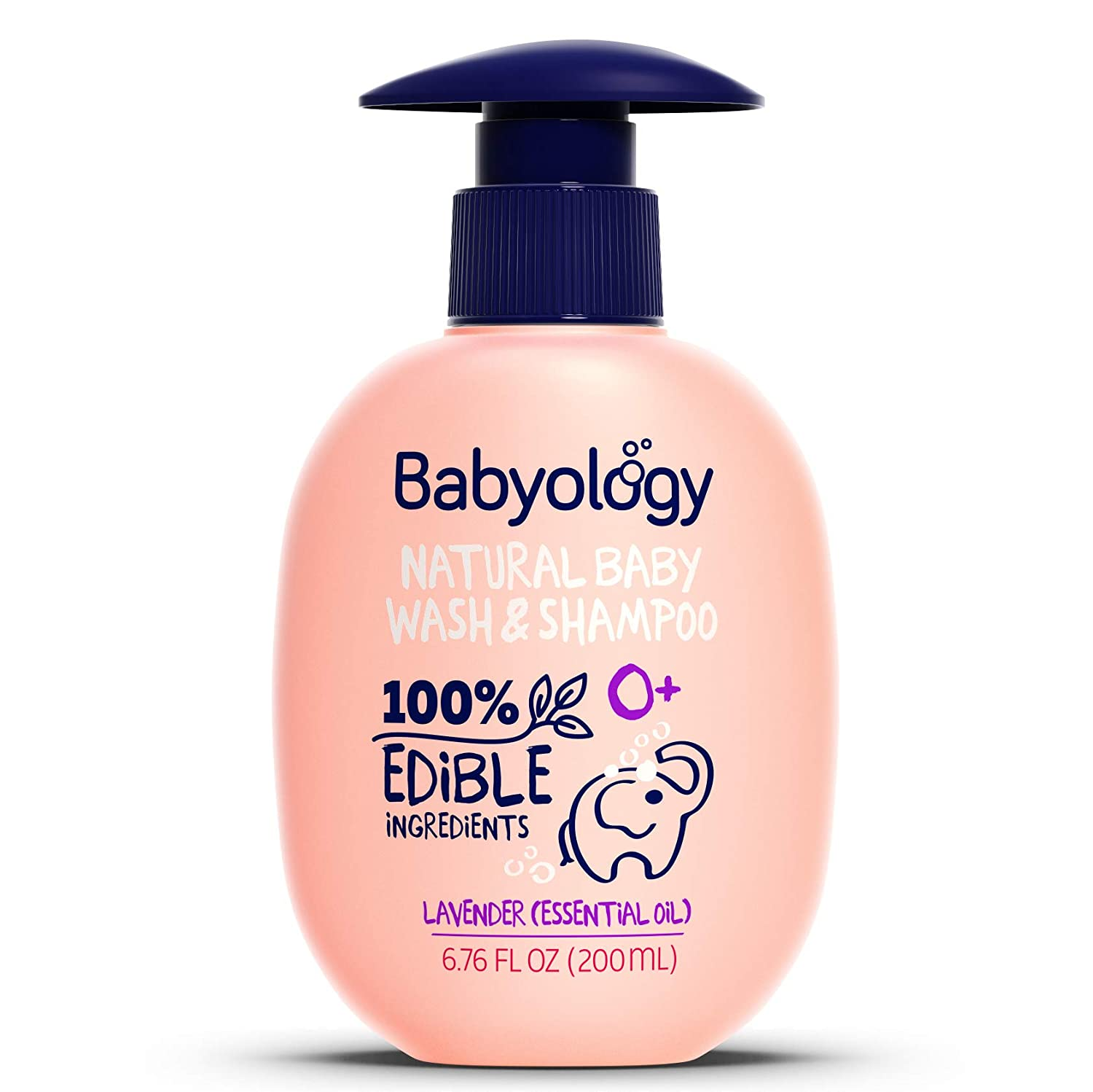 Babyology All Natural Baby Wash and Shampoo - 100% Edible Ingredients - with Organic Lavender Essential Oil (Fragrance Free) – Good for Sensitive Skin -Tear Free - Non Toxic (Scents & Packs Vary)