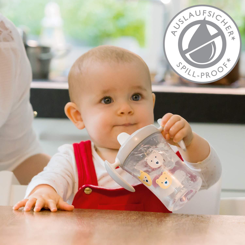 6 meses o m/ás a prueba de fugas NUK Trainer Cup Sippy Cup transparente 230 ml sin BPA oso boquilla de bebida suave