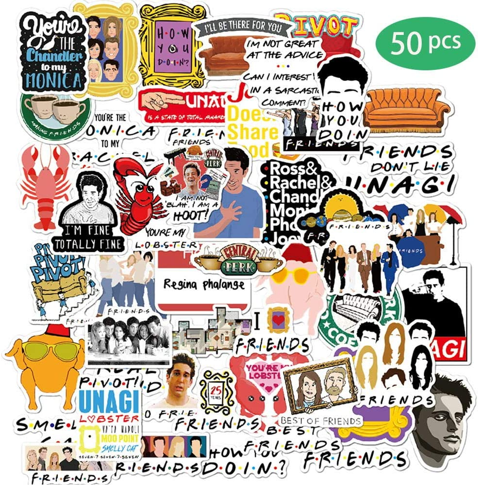 Friends TV Show Fans Stickers for Water Bottle,Waterproof Vinyl Skateboard Guitar Travel Case Sticker Door Laptop Luggage Car Bike Bicycle Stickers- Interesting Gift
